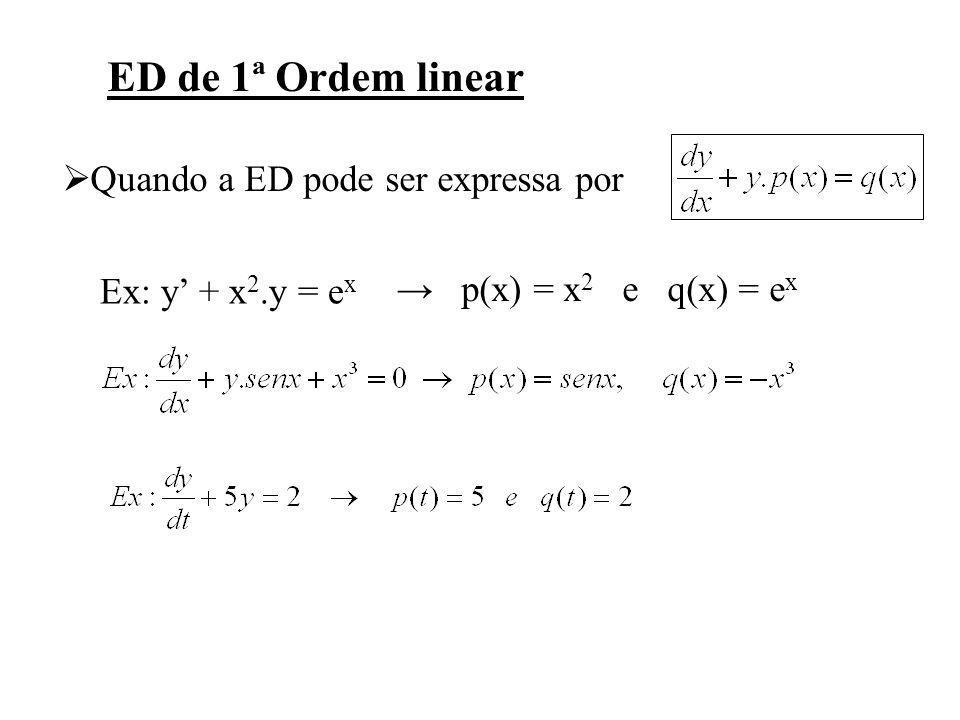 ED de 1ª Ordem linear Quando a ED pode ser expressa por Ex: y + x 2.y = e x p(x) = x 2 e q(x) = e x