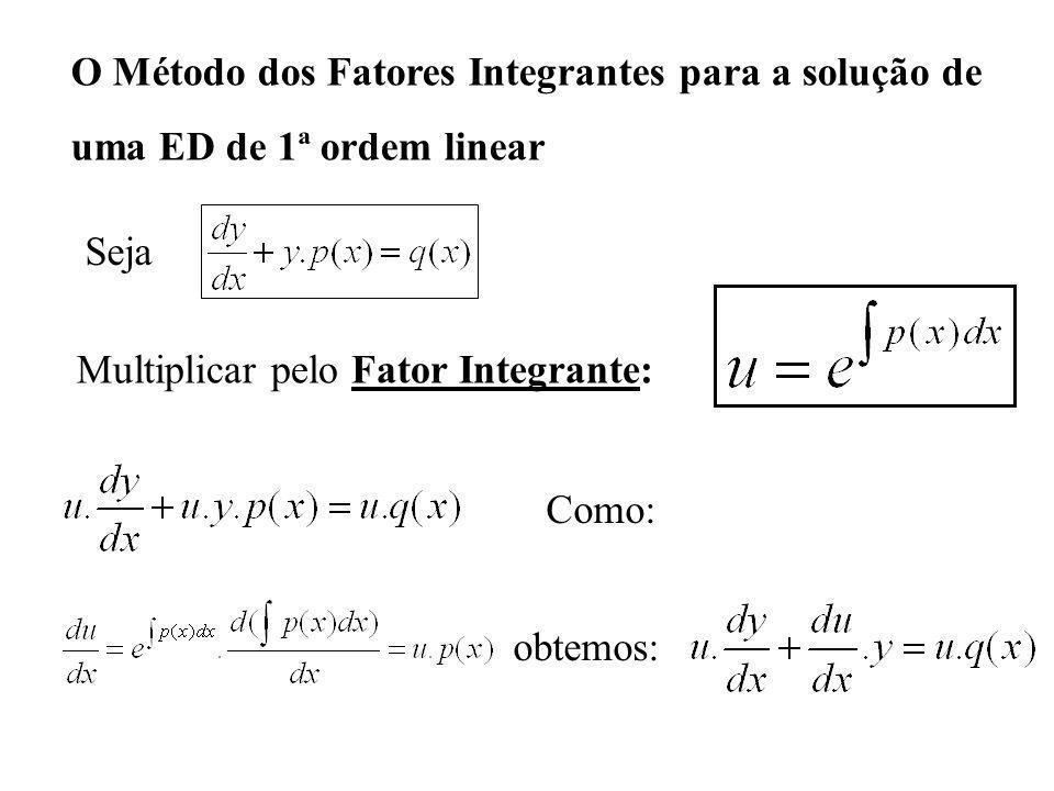 O Método dos Fatores Integrantes para a solução de uma ED de 1ª ordem linear Multiplicar pelo Fator Integrante: Seja Como: obtemos: