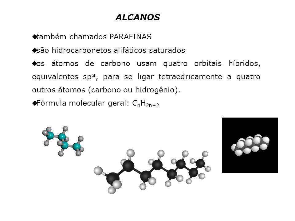 ALCANOS também chamados PARAFINAS são hidrocarbonetos alifáticos saturados os átomos de carbono usam quatro orbitais híbridos, equivalentes sp³, para se ligar tetraedricamente a quatro outros átomos (carbono ou hidrogênio).
