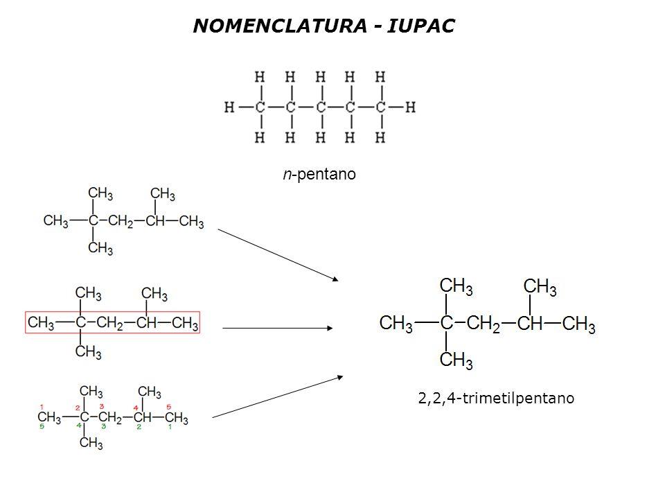 n-pentano 2,2,4-trimetilpentano NOMENCLATURA - IUPAC