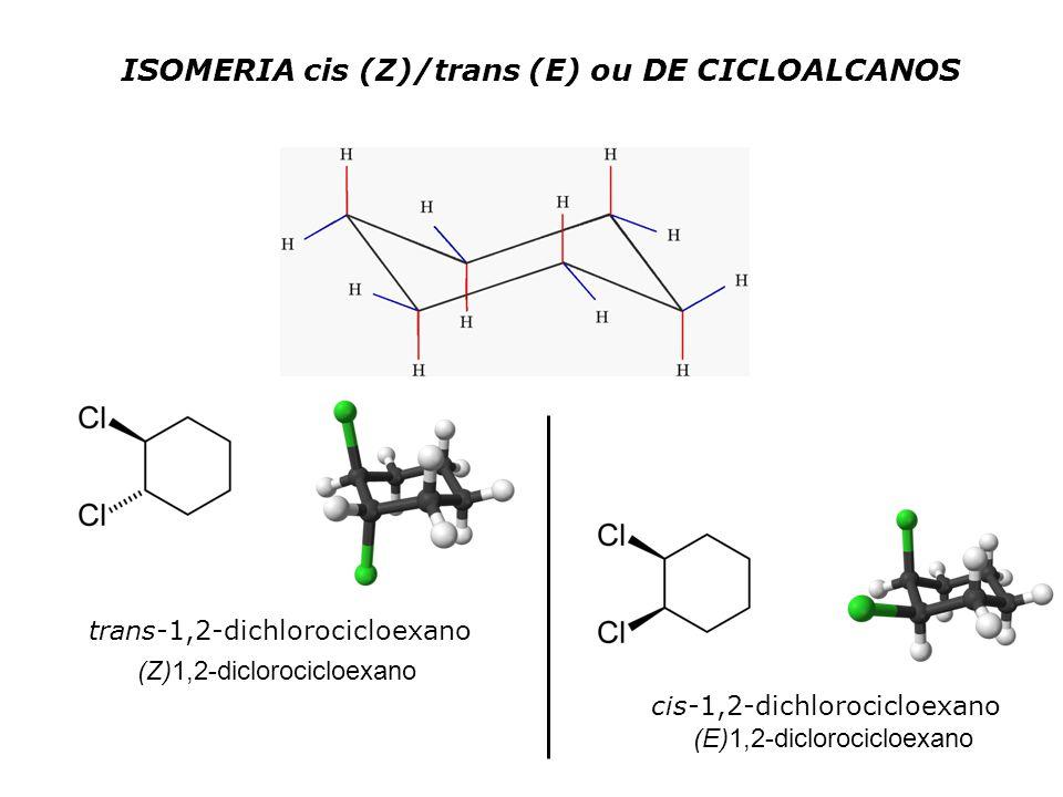 ISOMERIA cis (Z)/trans (E) ou DE CICLOALCANOS trans-1,2-dichlorocicloexano cis-1,2-dichlorocicloexano (Z)1,2-diclorocicloexano (E)1,2-diclorocicloexano