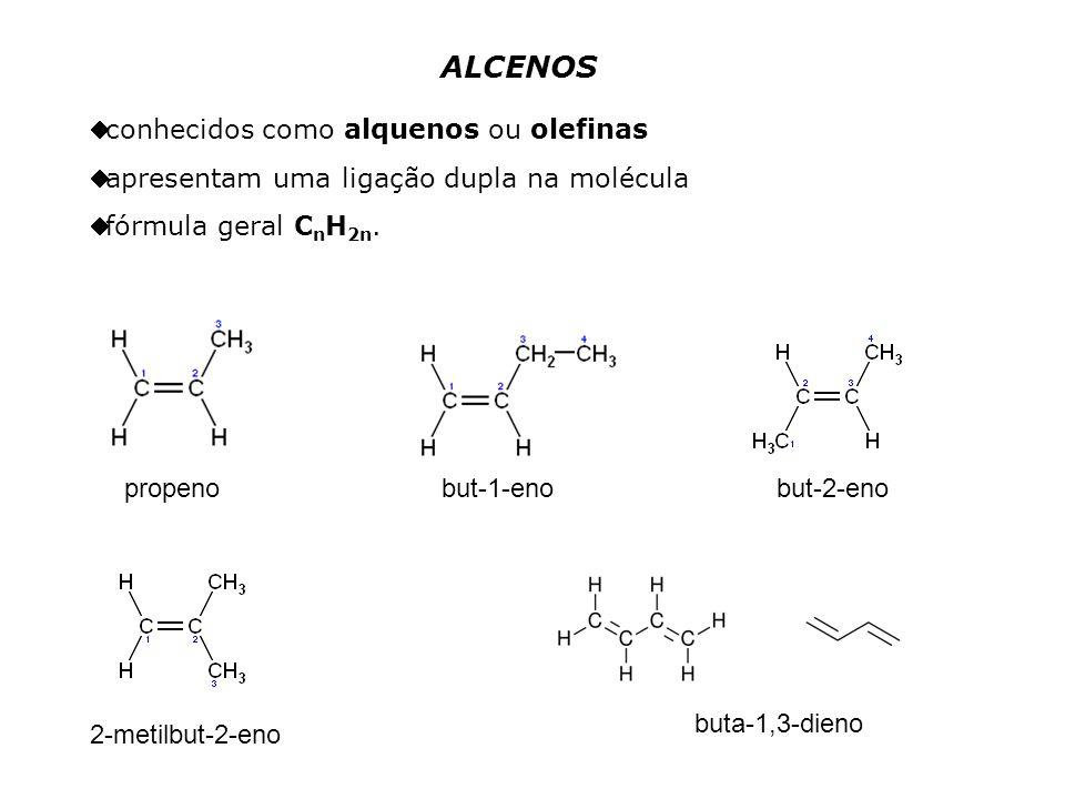 ALCENOS conhecidos como alquenos ou olefinas apresentam uma ligação dupla na molécula fórmula geral C n H 2n.