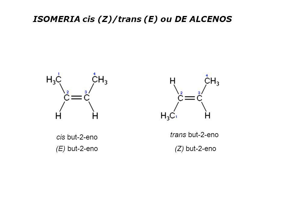 ISOMERIA cis (Z)/trans (E) ou DE ALCENOS cis but-2-eno trans but-2-eno (E) but-2-eno (Z) but-2-eno