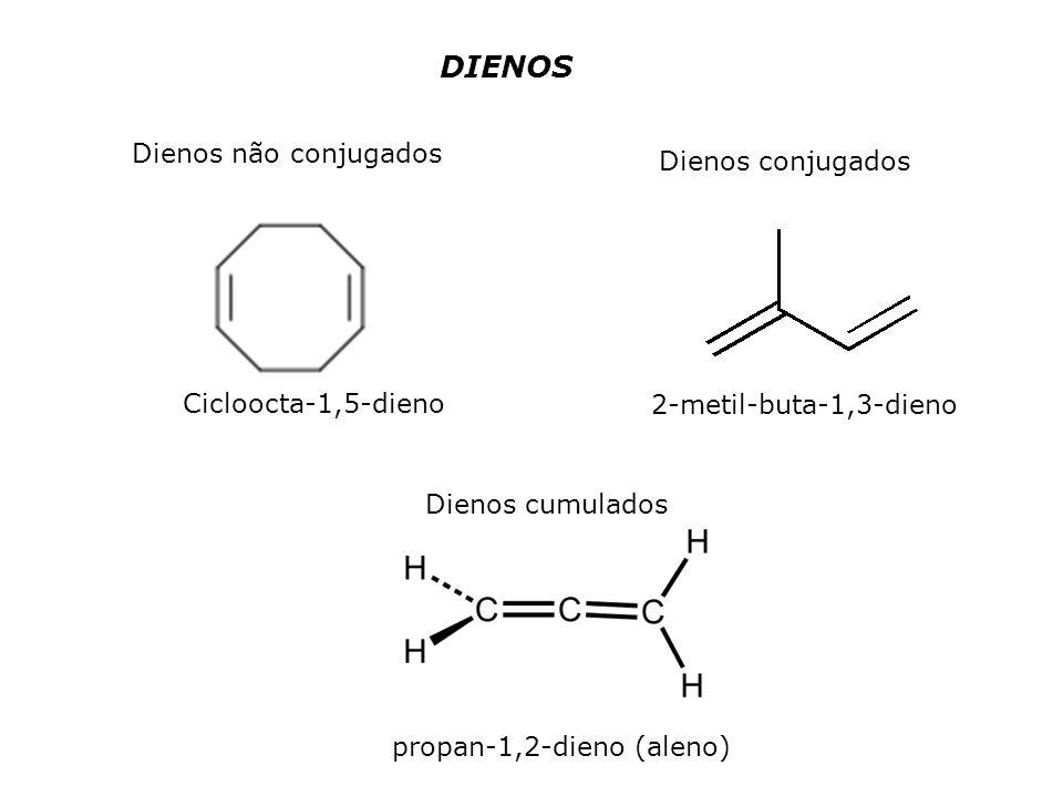DIENOS Dienos não conjugados Dienos conjugados Dienos cumulados Cicloocta-1,5-dieno 2-metil-buta-1,3-dieno propan-1,2-dieno (aleno)
