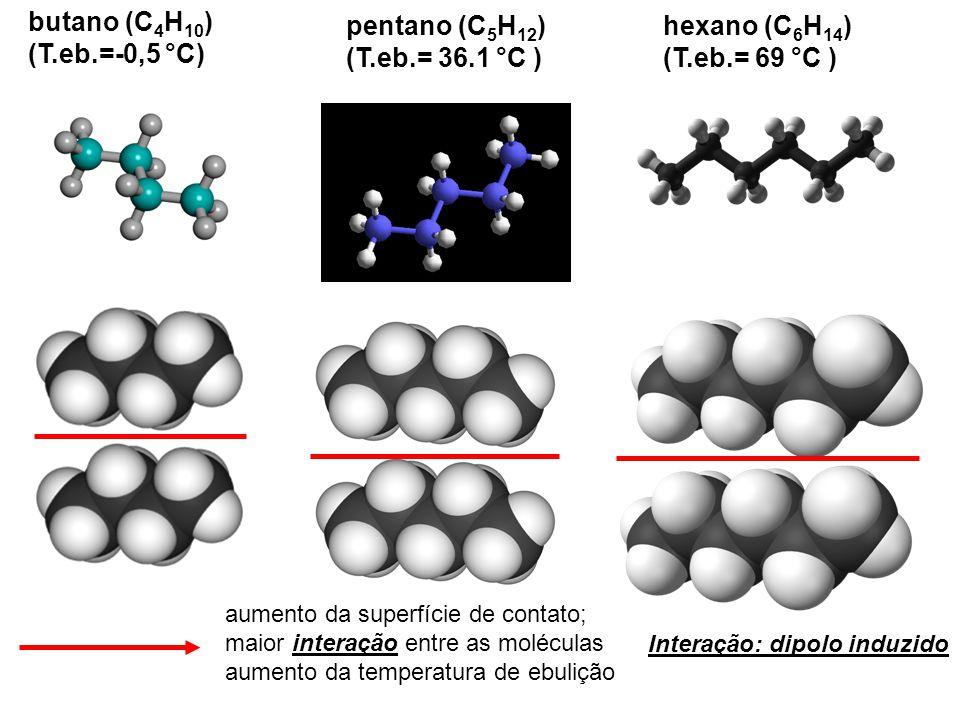 butano (C 4 H 10 ) (T.eb.=-0,5 °C) pentano (C 5 H 12 ) (T.eb.= 36.1 °C ) hexano (C 6 H 14 ) (T.eb.= 69 °C ) aumento da superfície de contato; maior interação entre as moléculas aumento da temperatura de ebulição Interação: dipolo induzido