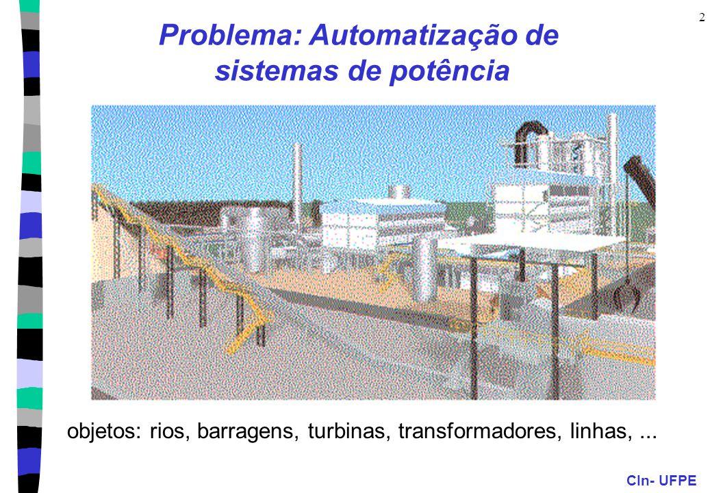 CIn- UFPE 2 Problema: Automatização de sistemas de potência objetos: rios, barragens, turbinas, transformadores, linhas,...