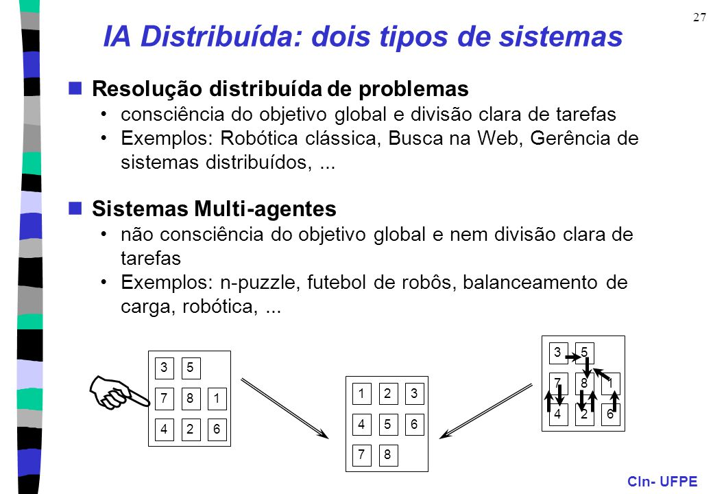 CIn- UFPE 27 1 53 4 8 6 7 2 1 5 3 4 8 6 7 2 1 53 4 8 6 7 2 IA Distribuída: dois tipos de sistemas Resolução distribuída de problemas consciência do objetivo global e divisão clara de tarefas Exemplos: Robótica clássica, Busca na Web, Gerência de sistemas distribuídos,...