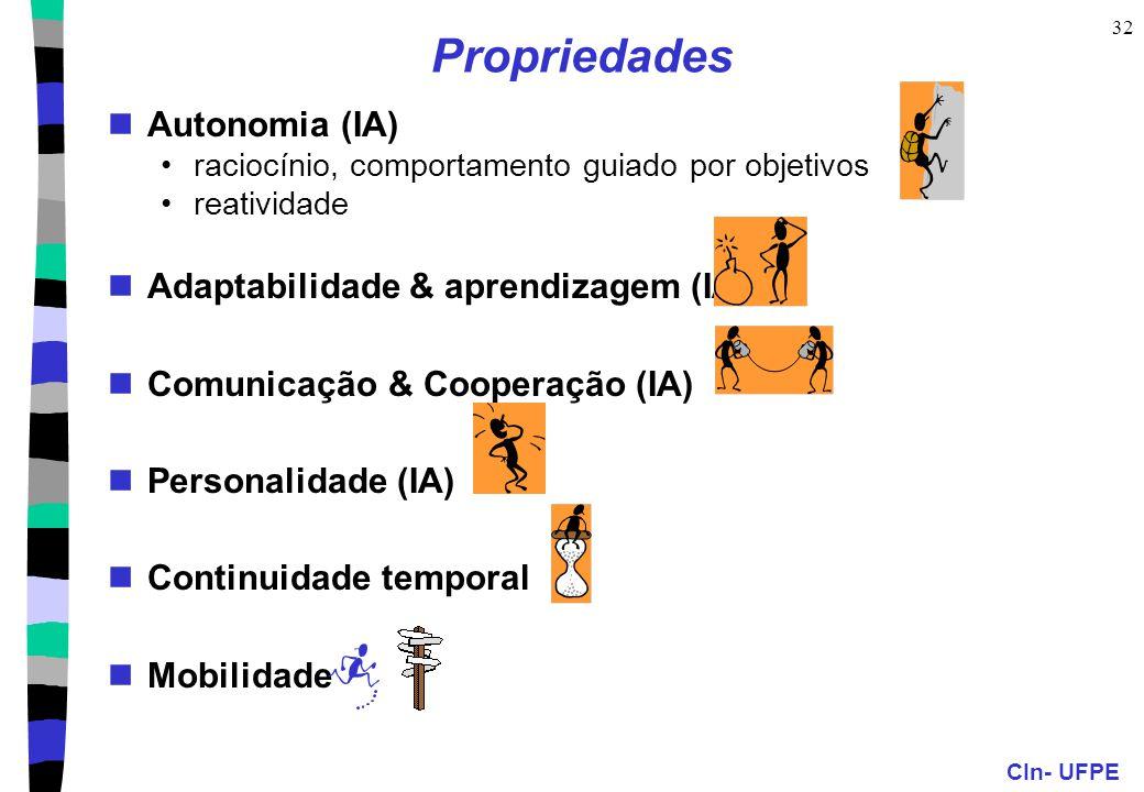 CIn- UFPE 32 Propriedades Autonomia (IA) raciocínio, comportamento guiado por objetivos reatividade Adaptabilidade & aprendizagem (IA) Comunicação & Cooperação (IA) Personalidade (IA) Continuidade temporal Mobilidade