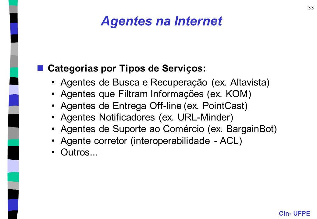 CIn- UFPE 33 Agentes na Internet Categorias por Tipos de Serviços: Agentes de Busca e Recuperação (ex.