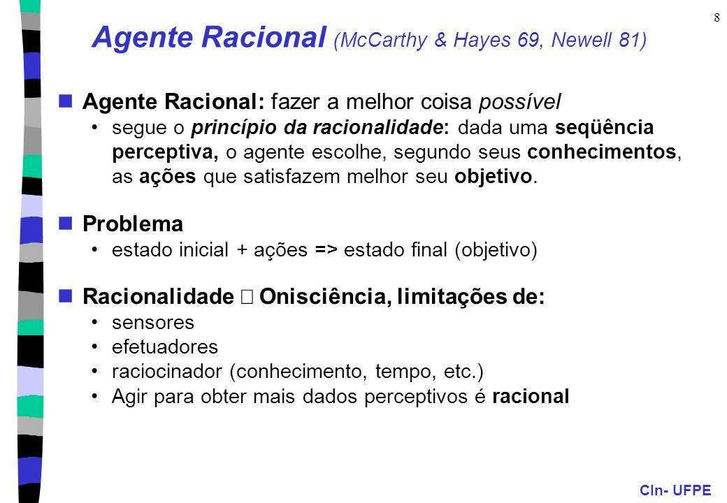 CIn- UFPE 8 Agente Racional (McCarthy & Hayes 69, Newell 81) Agente Racional: fazer a melhor coisa possível segue o princípio da racionalidade: dada uma seqüência perceptiva, o agente escolhe, segundo seus conhecimentos, as ações que satisfazem melhor seu objetivo.