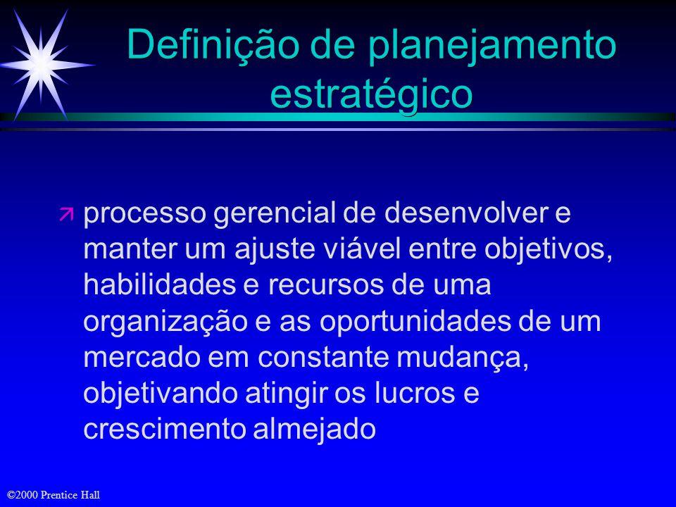 ©2000 Prentice Hall Definição de planejamento estratégico ä ä processo gerencial de desenvolver e manter um ajuste viável entre objetivos, habilidades