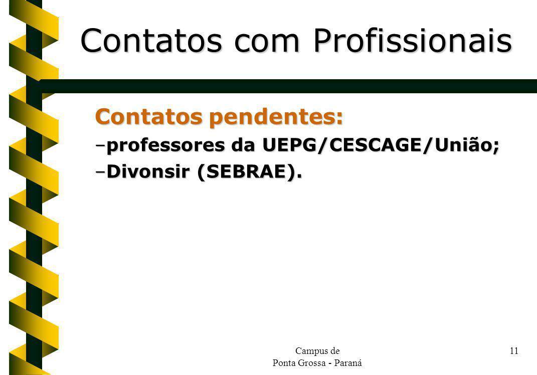 Campus de Ponta Grossa - Paraná 11 Contatos pendentes: –professores da UEPG/CESCAGE/União; –Divonsir (SEBRAE).