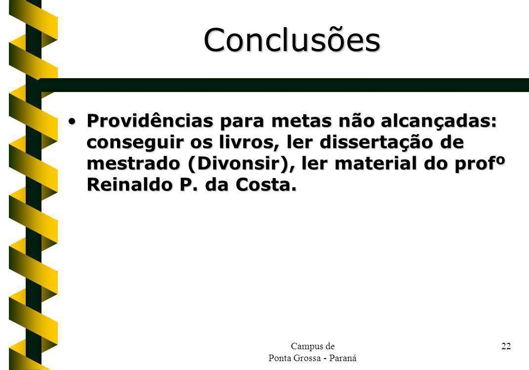 Campus de Ponta Grossa - Paraná 22 Providências para metas não alcançadas: conseguir os livros, ler dissertação de mestrado (Divonsir), ler material do profº Reinaldo P.
