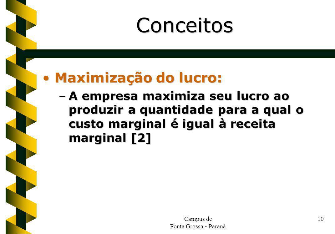 Campus de Ponta Grossa - Paraná 10 Maximização do lucro:Maximização do lucro: –A empresa maximiza seu lucro ao produzir a quantidade para a qual o custo marginal é igual à receita marginal [2] Conceitos