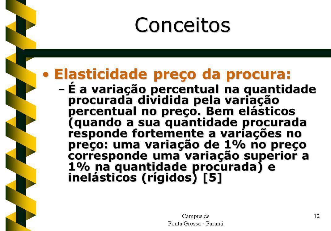 Campus de Ponta Grossa - Paraná 12 Elasticidade preço da procura:Elasticidade preço da procura: –É a variação percentual na quantidade procurada dividida pela variação percentual no preço.