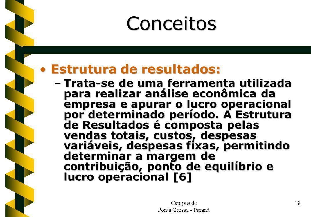 Campus de Ponta Grossa - Paraná 18 Estrutura de resultados:Estrutura de resultados: –Trata-se de uma ferramenta utilizada para realizar análise econôm