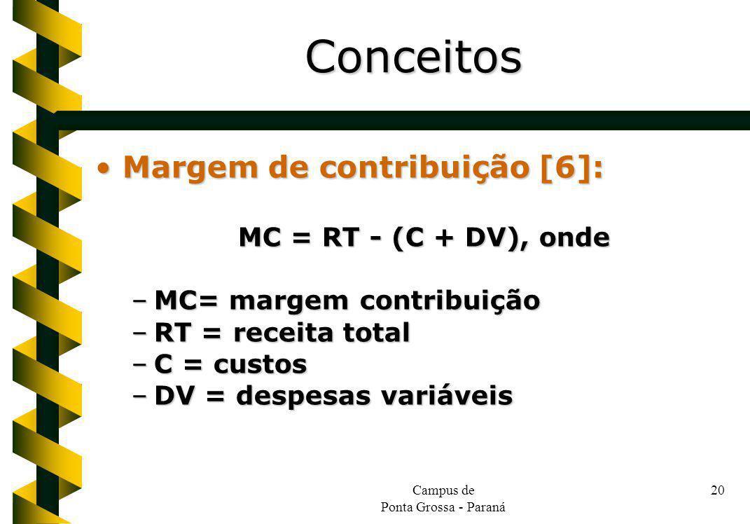Campus de Ponta Grossa - Paraná 20 Margem de contribuição [6]:Margem de contribuição [6]: MC = RT - (C + DV), onde –MC= margem contribuição –RT = rece