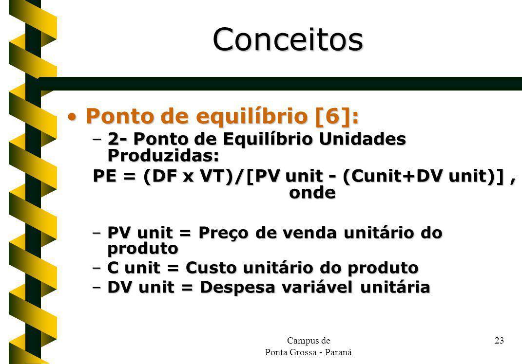 Campus de Ponta Grossa - Paraná 23 Ponto de equilíbrio [6]:Ponto de equilíbrio [6]: –2- Ponto de Equilíbrio Unidades Produzidas: PE = (DF x VT)/[PV un