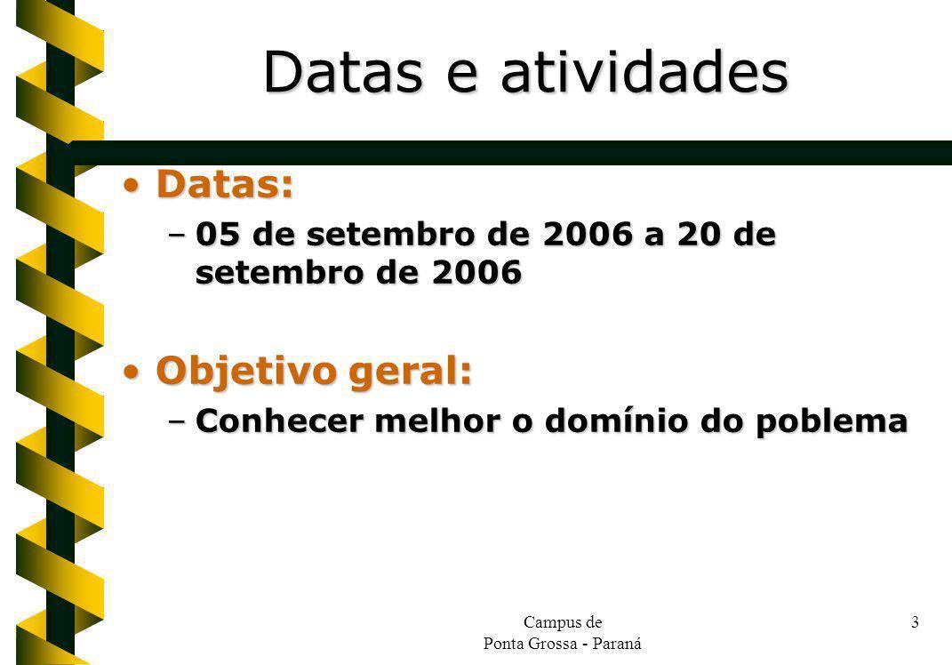 Campus de Ponta Grossa - Paraná 3 Datas:Datas: –05 de setembro de 2006 a 20 de setembro de 2006 Objetivo geral:Objetivo geral: –Conhecer melhor o domí