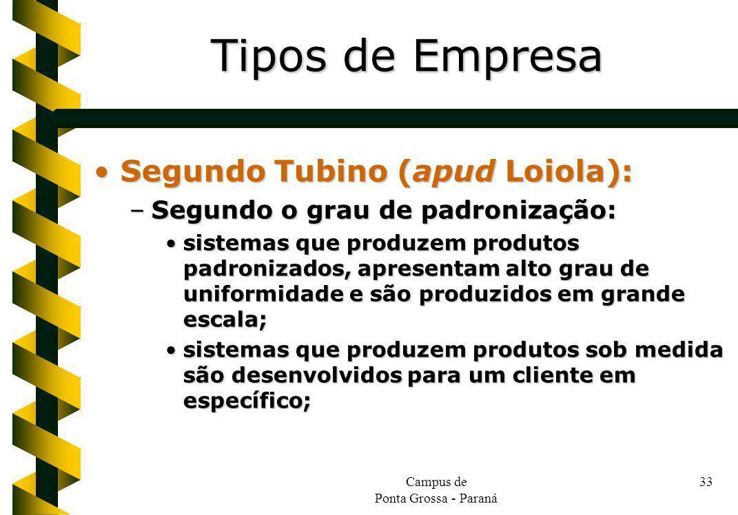 Campus de Ponta Grossa - Paraná 33 Segundo Tubino (apud Loiola):Segundo Tubino (apud Loiola): –Segundo o grau de padronização: sistemas que produzem p