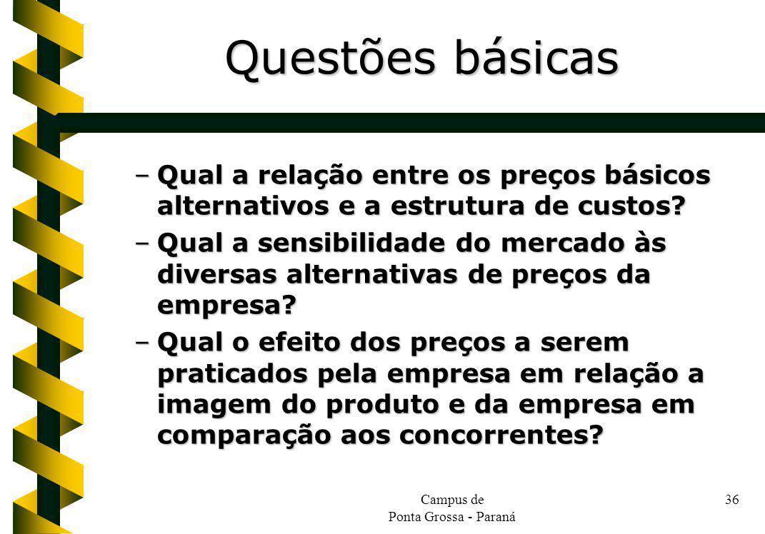 Campus de Ponta Grossa - Paraná 36 –Qual a relação entre os preços básicos alternativos e a estrutura de custos? –Qual a sensibilidade do mercado às d