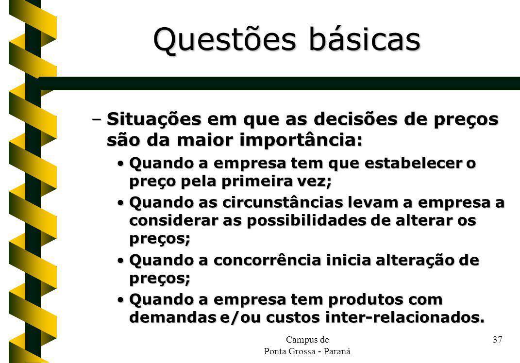 Campus de Ponta Grossa - Paraná 37 –Situações em que as decisões de preços são da maior importância: Quando a empresa tem que estabelecer o preço pela