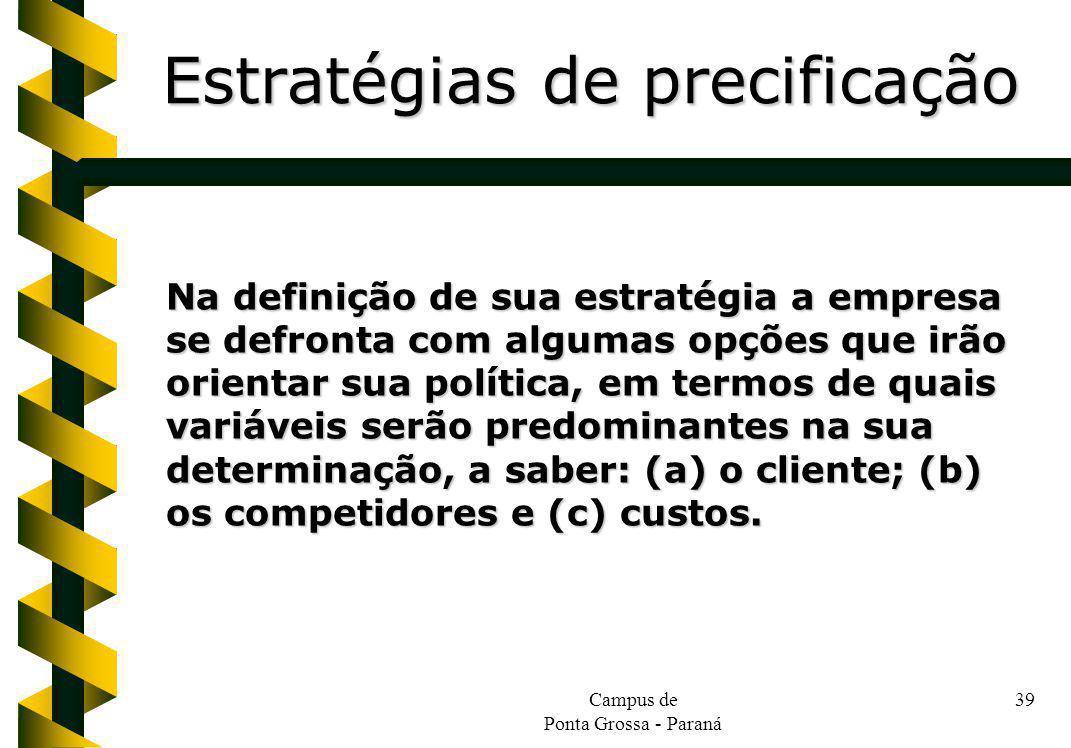 Campus de Ponta Grossa - Paraná 39 Na definição de sua estratégia a empresa se defronta com algumas opções que irão orientar sua política, em termos d