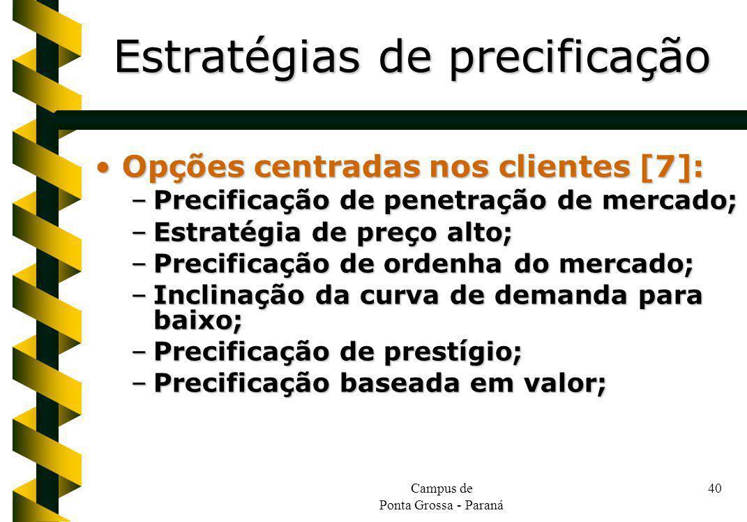 Campus de Ponta Grossa - Paraná 40 Opções centradas nos clientes [7]:Opções centradas nos clientes [7]: –Precificação de penetração de mercado; –Estra