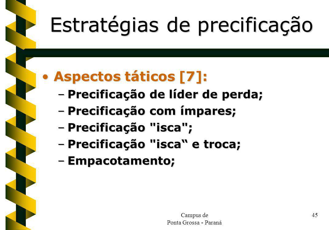 Campus de Ponta Grossa - Paraná 45 Aspectos táticos [7]:Aspectos táticos [7]: –Precificação de líder de perda; –Precificação com ímpares; –Precificaçã