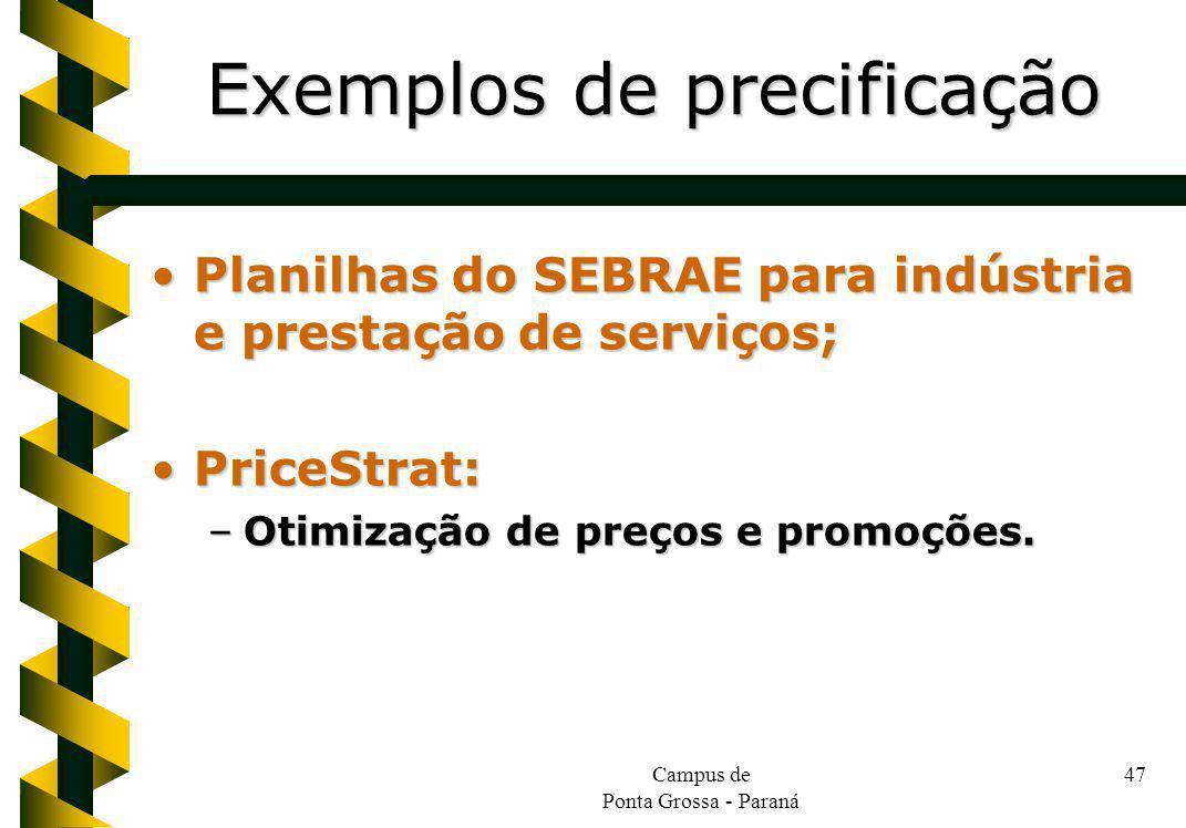 Campus de Ponta Grossa - Paraná 47 Planilhas do SEBRAE para indústria e prestação de serviços;Planilhas do SEBRAE para indústria e prestação de serviços; PriceStrat:PriceStrat: –Otimização de preços e promoções.