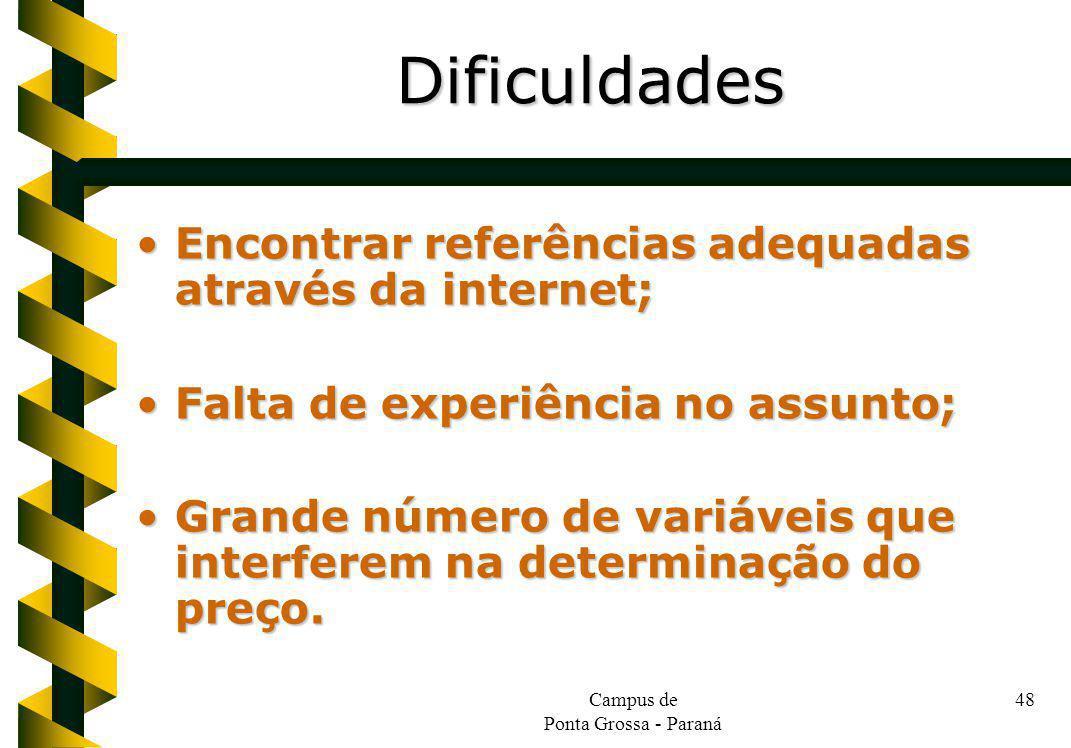 Campus de Ponta Grossa - Paraná 48 Encontrar referências adequadas através da internet;Encontrar referências adequadas através da internet; Falta de e