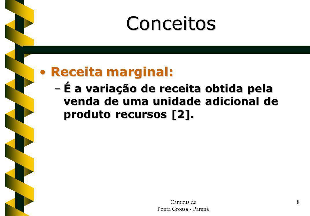 Campus de Ponta Grossa - Paraná 8 Receita marginal:Receita marginal: –É a variação de receita obtida pela venda de uma unidade adicional de produto recursos [2].