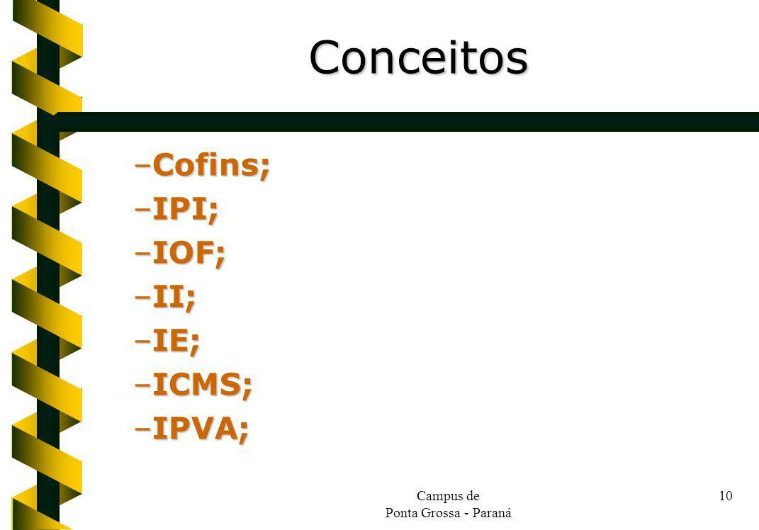 Campus de Ponta Grossa - Paraná 10 –Cofins; –IPI; –IOF; –II; –IE; –ICMS; –IPVA; Conceitos