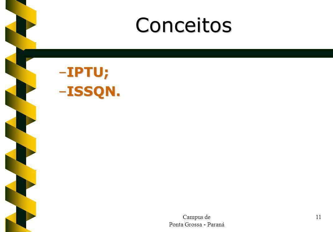 Campus de Ponta Grossa - Paraná 11 –IPTU; –ISSQN. Conceitos