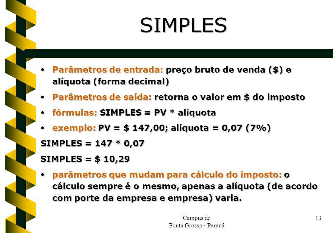 Campus de Ponta Grossa - Paraná 13 Parâmetros de entrada: preço bruto de venda ($) e alíquota (forma decimal) Parâmetros de entrada: preço bruto de ve