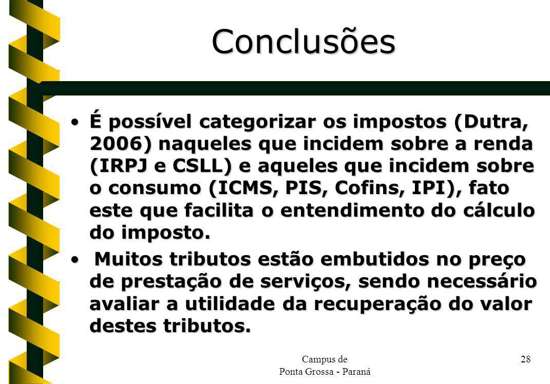 Campus de Ponta Grossa - Paraná 28 É possível categorizar os impostos (Dutra, 2006) naqueles que incidem sobre a renda (IRPJ e CSLL) e aqueles que inc