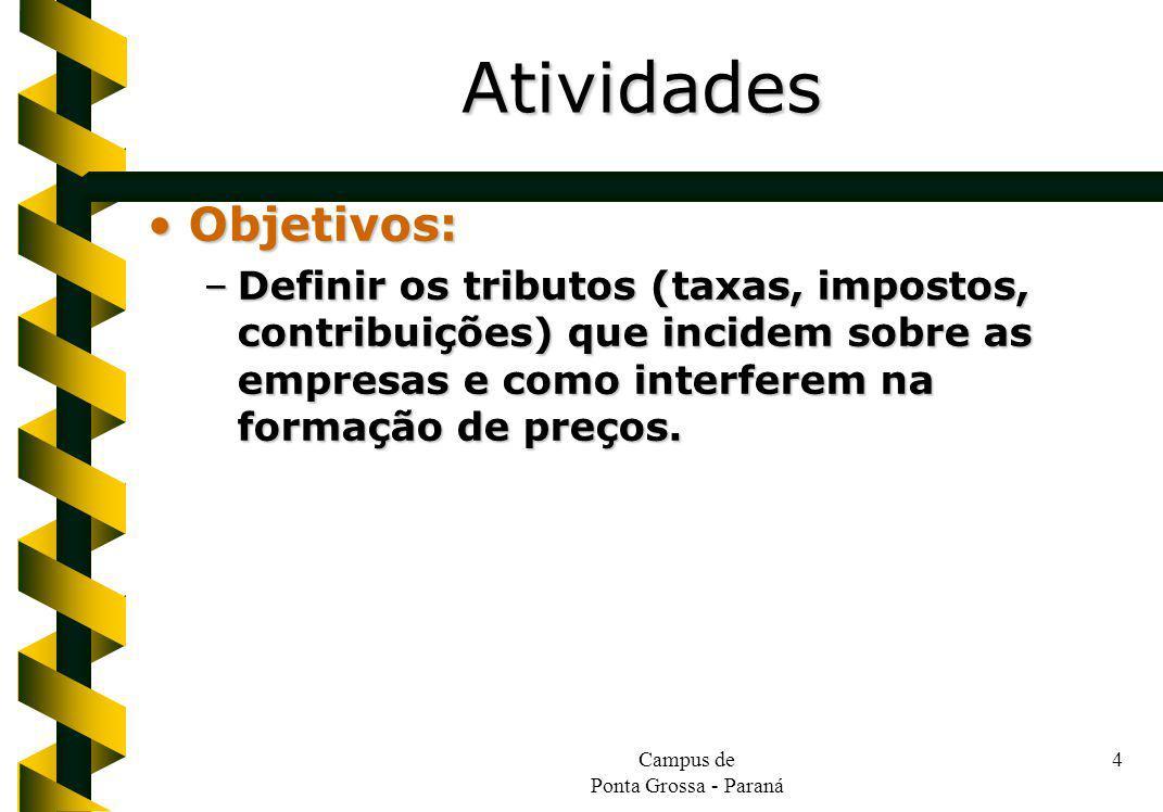 Campus de Ponta Grossa - Paraná 4 Objetivos:Objetivos: –Definir os tributos (taxas, impostos, contribuições) que incidem sobre as empresas e como inte