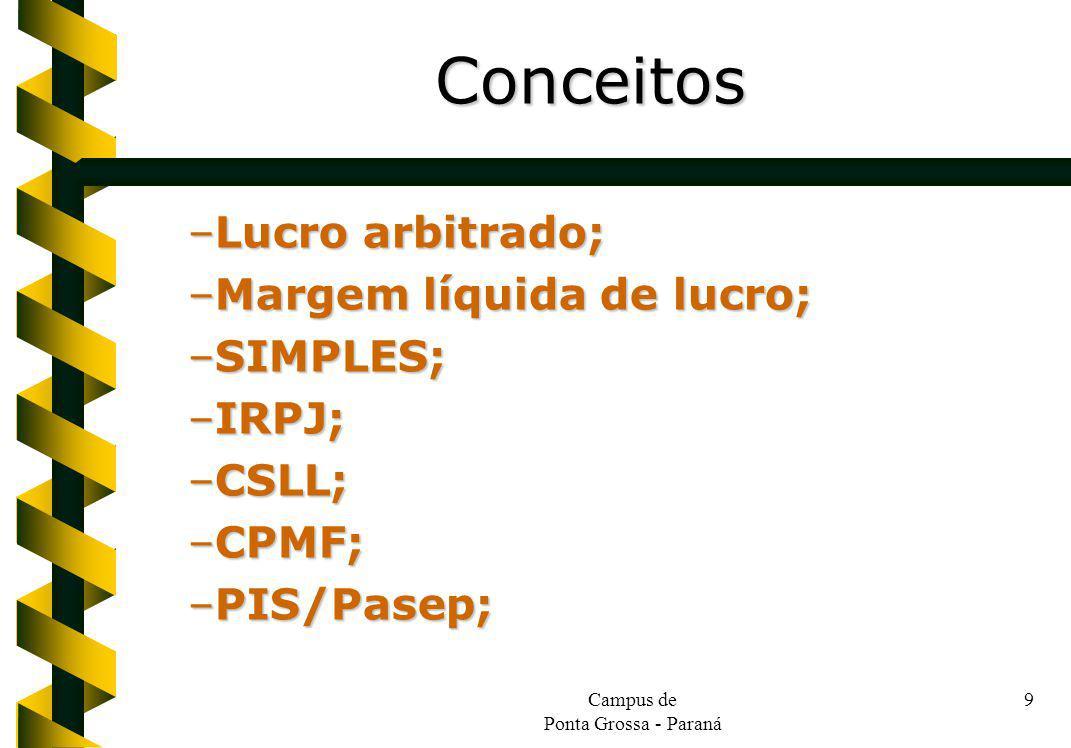 Campus de Ponta Grossa - Paraná 9 –Lucro arbitrado; –Margem líquida de lucro; –SIMPLES; –IRPJ; –CSLL; –CPMF; –PIS/Pasep; Conceitos