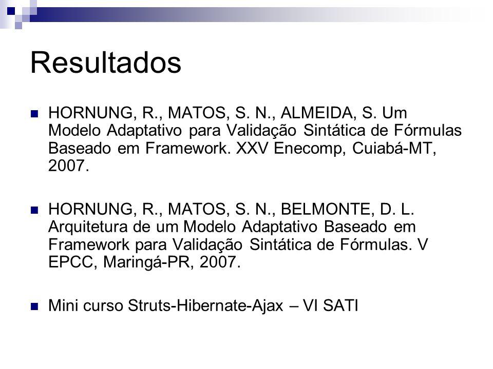 Resultados HORNUNG, R., MATOS, S. N., ALMEIDA, S. Um Modelo Adaptativo para Validação Sintática de Fórmulas Baseado em Framework. XXV Enecomp, Cuiabá-