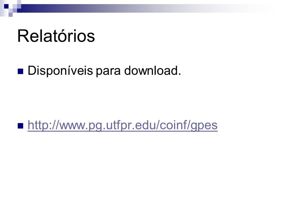 Relatórios Disponíveis para download. http://www.pg.utfpr.edu/coinf/gpes