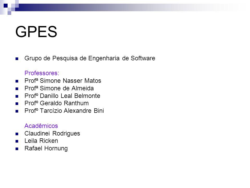 Grupo de Pesquisa de Engenharia de Software Professores: Profª Simone Nasser Matos Profª Simone de Almeida Profº Danillo Leal Belmonte Profº Geraldo R