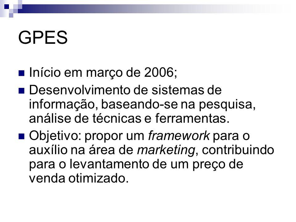 GPES Início em março de 2006; Desenvolvimento de sistemas de informação, baseando-se na pesquisa, análise de técnicas e ferramentas. Objetivo: propor