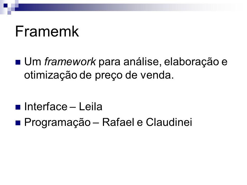 Framemk Um framework para análise, elaboração e otimização de preço de venda. Interface – Leila Programação – Rafael e Claudinei