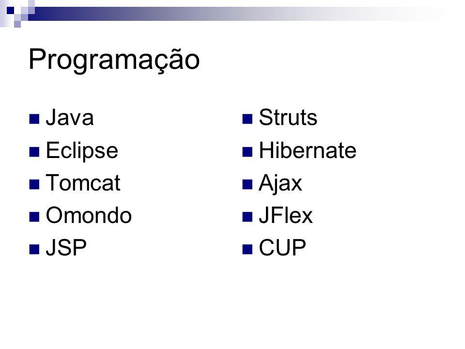 Programação Java Eclipse Tomcat Omondo JSP Struts Hibernate Ajax JFlex CUP