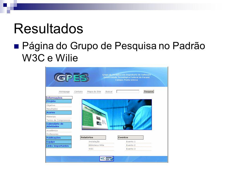 Resultados Página do Grupo de Pesquisa no Padrão W3C e Wilie