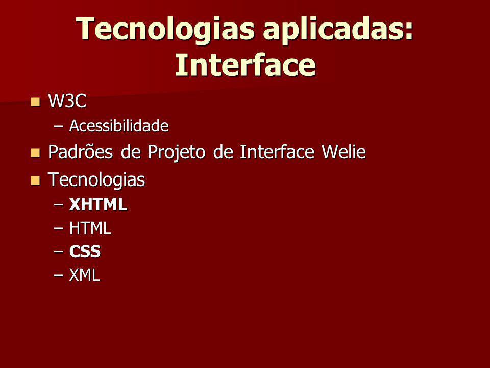 Tecnologias aplicadas: Interface W3C W3C –Acessibilidade Padrões de Projeto de Interface Welie Padrões de Projeto de Interface Welie Tecnologias Tecno