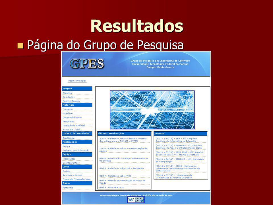 Resultados Página do Grupo de Pesquisa Página do Grupo de Pesquisa