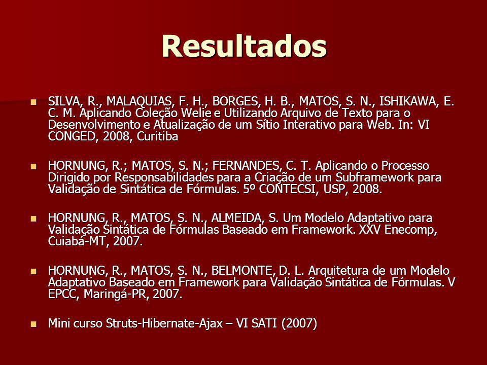 Resultados SILVA, R., MALAQUIAS, F. H., BORGES, H. B., MATOS, S. N., ISHIKAWA, E. C. M. Aplicando Coleção Welie e Utilizando Arquivo de Texto para o D