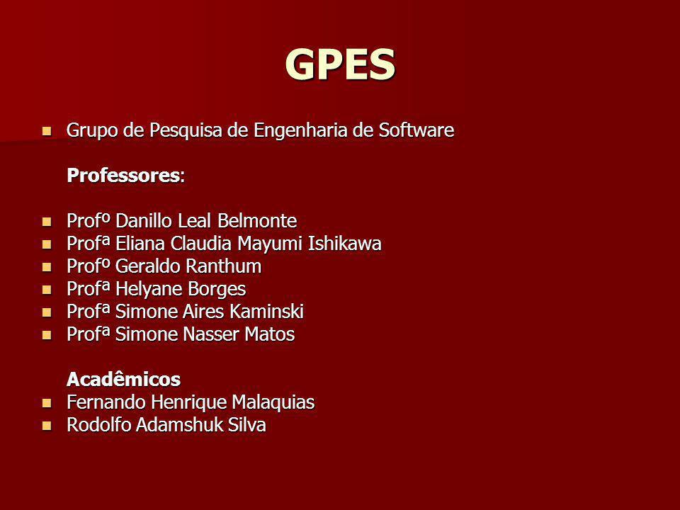 GPES Grupo de Pesquisa de Engenharia de Software Grupo de Pesquisa de Engenharia de Software Professores: Profº Danillo Leal Belmonte Profº Danillo Le