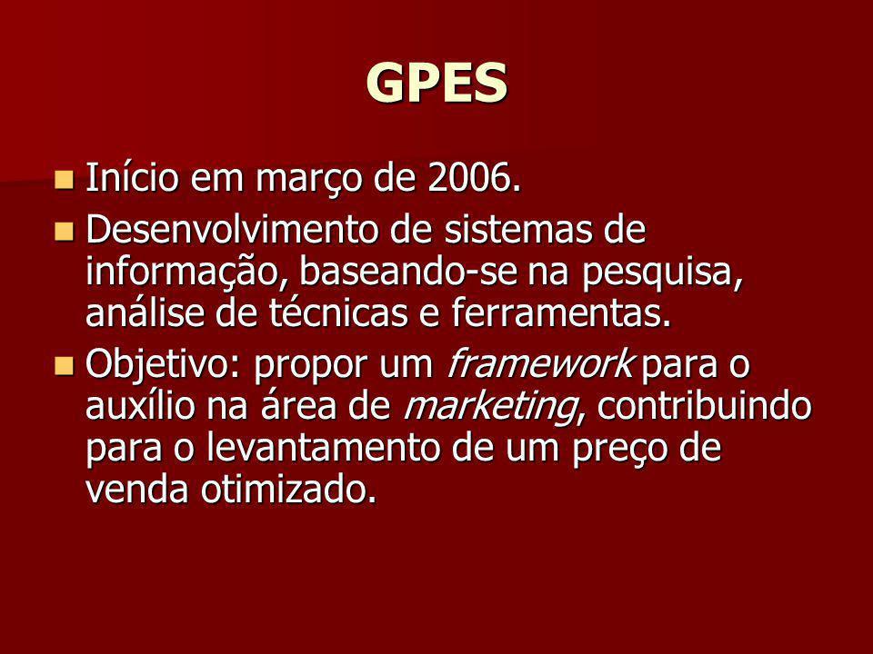 GPES Início em março de 2006. Início em março de 2006. Desenvolvimento de sistemas de informação, baseando-se na pesquisa, análise de técnicas e ferra